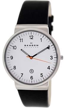 Skagen Men's Ancher SKW6024 Black Leather Quartz Fashion Watch