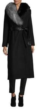 1 Madison Fox Fur-Trimmed Wrap Coat