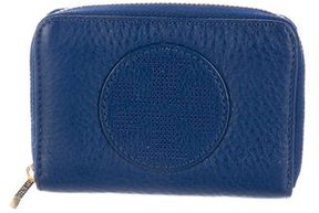 Tory Burch Pebbled Leather Zip Wallet - BLUE - STYLE