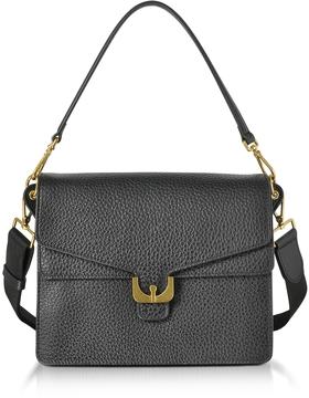 Coccinelle Ambrine Black Bubble Leather Small Satchel Bag