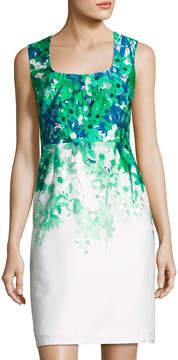 Donna Ricco Square-Neck Sleeveless Sheath Dress, Green/White