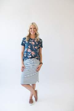 Ampersand Avenue Hope Floral Tee - Dusty Blue