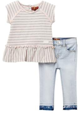 7 For All Mankind Ruffle Tee & Skinny Jean Set (Baby Girls)