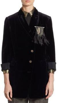 Brunello Cucinelli Velvet Feather Blazer