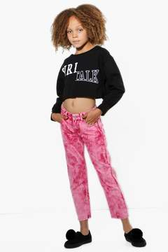boohoo Girls Raspberry Acid Wash Boyfriend Jeans