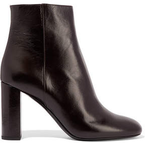 Saint Laurent Loulou Glossed-leather Ankle Boots - Merlot