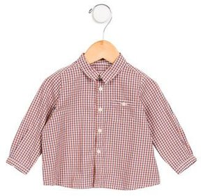 Bonpoint Boys' Gingham Long Sleeve Top w/ Tags
