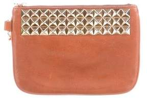 Tory Burch Studded Leather Wristlet - BROWN - STYLE