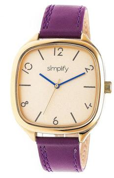 Simplify The 3500 Collection SIM3507 Square-Shaped Gold Analog Watch