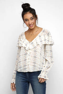 Astr Channing Printed Ruffle Top
