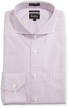 Neiman Marcus Trim-Fit Regular Finish Check-Print Dress Shirt