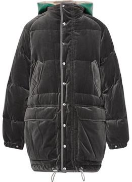 Sacai Faux Shearling-Trimmed Cotton-Velour Down Jacket