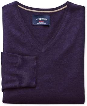 Charles Tyrwhitt Purple Merino Wool V-Neck Sweater Size Large