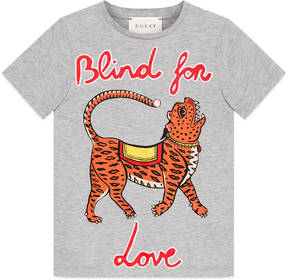 Children's cotton T-shirt with tiger print
