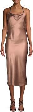 Fleur Du Mal Women's Cowlneck Silk Midi Dress