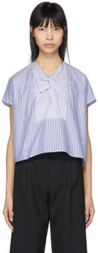 Carven Blue and White Stripe Blouse