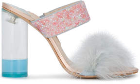 Sophia Webster Skye Sandals With Fluffy Strap And Sequin Detail