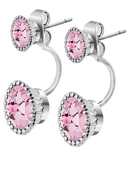 Bliss Pink Cubic Zirconia & Sterling Silver Ear Jackets