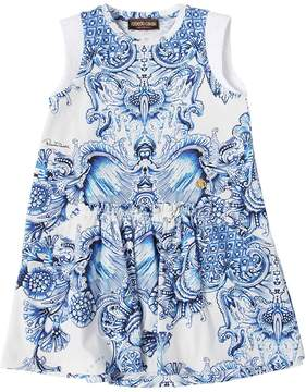 Roberto Cavalli Baroque Printed Cotton Jersey Dress