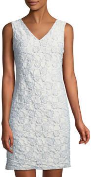 Donna Ricco Shimmer Floral-Jacquard Sheath Dress