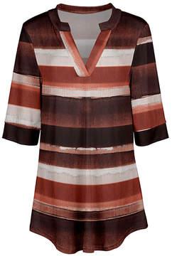 Azalea Coral & Cream Stripe V-Neck Tunic - Women & Plus