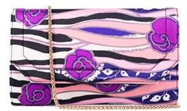 Roberto Cavalli Multicolor Pink Satin Floral Clutch Shoulder Bag