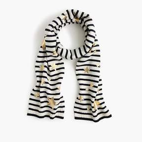 J.Crew Girls' striped knit scarf with gold stars