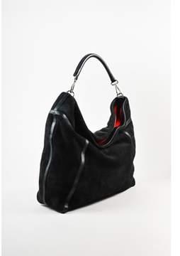 Ralph Lauren Pre-owned Black Red Shearling Lined Oversized Hobo Bag.