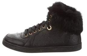 Gucci Fur-Trimmed Guccissima Sneakers