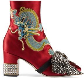 Dragon satin mid-heel ankle boot