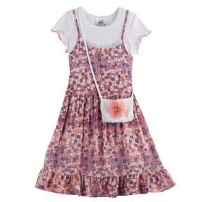 Knitworks Girls 4-6x Top & Floral Slip Dress Set with Crossbody Purse