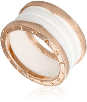 Bvlgari B.Zero1 4 Band 18K Pink Gold White Ceramic Ring - Size 9.25