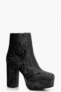 boohoo Faye Floral Embroidered Velvet Ankle Boot