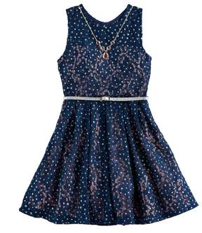 Knitworks Girls 7-16 Belted Lace Skater Dress with Necklace