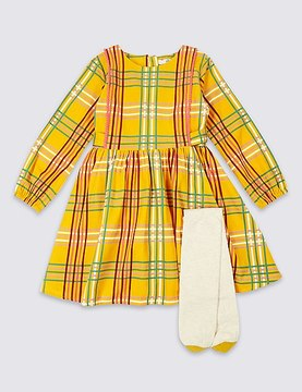 Marks and Spencer 2 Piece Checked Dress with Tights Outfit (3 Months - 5 Years)