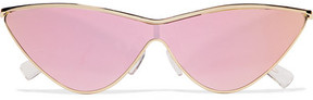 Le Specs Adam Selman The Fugitive Cat-eye Gold-tone Mirrored Sunglasses