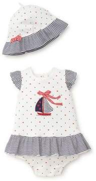 Little Me Baby Girl's Three-Piece Sailboat Cotton Hat, Dress and Bloomer Set