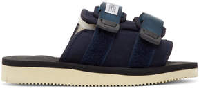 Suicoke Navy Suede and Shearling Moto-M Sandals