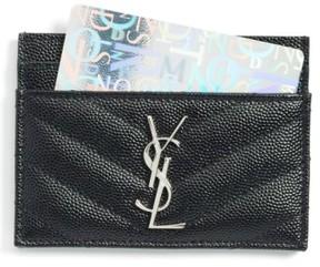 Saint Laurent Women's 'Monogram' Credit Card Case - Black - BLACK - STYLE