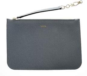 Valextra Grey Powder Grained Leather Pouch