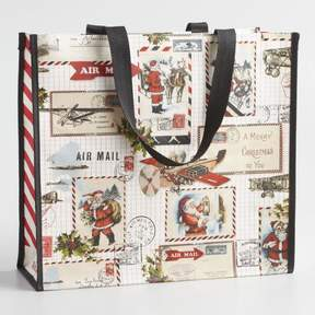 World Market Large Santa Travels Tote Bag