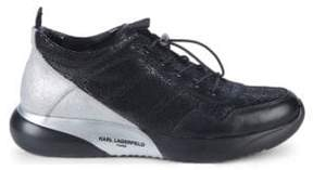 Karl Lagerfeld Crackle Leather Sneakers