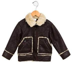 Ikks Boys' Faux Shearling Pointed Collar Jacket