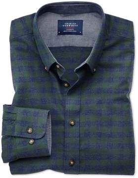 Charles Tyrwhitt Slim Fit Button-Down Soft Cotton Green and Blue Check Casual Shirt Single Cuff Size XS