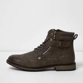 River Island Mens Grey military boots