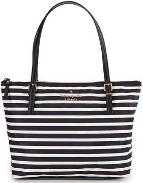 Kate Spade Watson Lane Collection Small Maya Striped Tote - BLACK/CLOTTED CREAM - STYLE