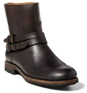 Ralph Lauren Mersey Leather Moto Boot Dark Brown 10