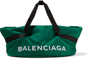 Balenciaga Wheel Embroidered Shell Bag - Green