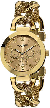 Akribos XXIV Akribos GMT Multi-Function Gold-Tone Mesh Ladies Watch