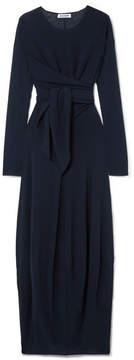 Jil Sander Tie-front Stretch-jersey Maxi Dress - Navy